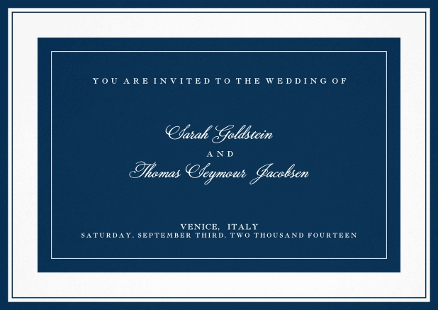 Classic wedding invitation template with frame and colorful text field. Navy.