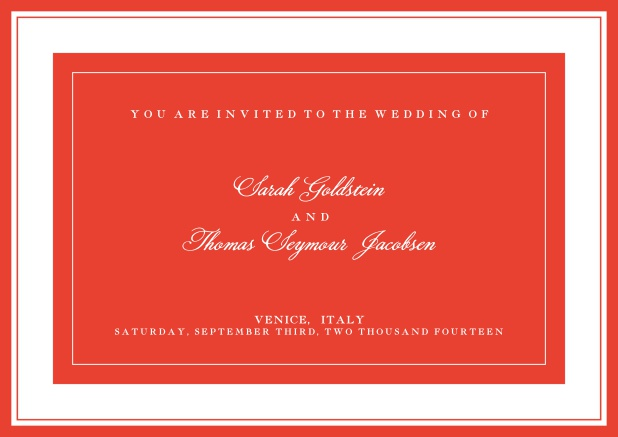 Online classic invitation card with green text field and border. Red.