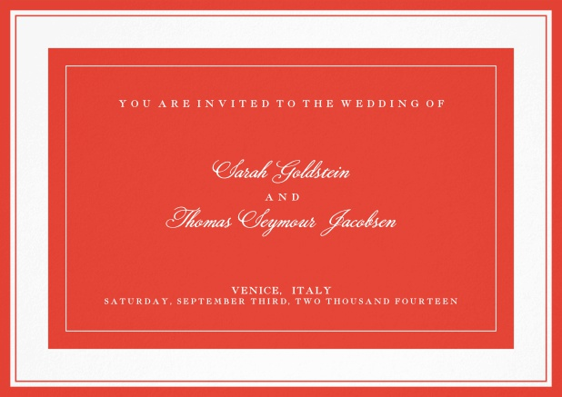 Classic wedding invitation template with frame and colorful text field. Red.