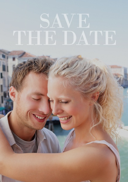 Wedding save the date photo card with large photo and editable text. Blue.