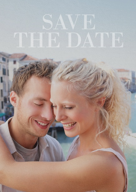 Save the Date photo card for wedding with changeable ohoto and text Save the Date on top. Blue.