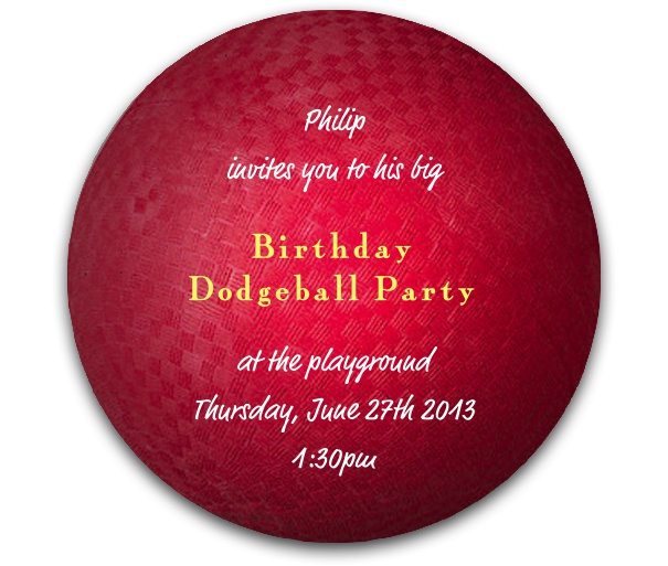 Round Dodgeball Sports Invitation Template designed as a dodge ball.