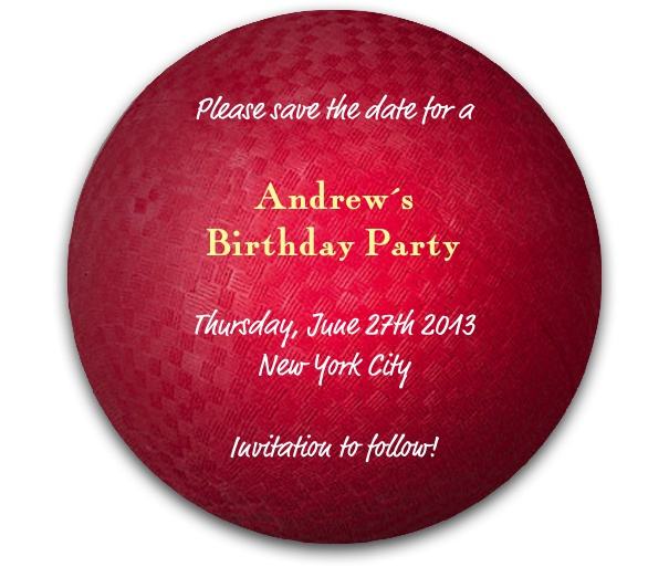Dodgeball Themed Kid's Birthday Party Save the Date Template.
