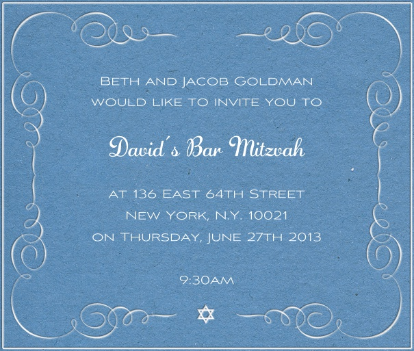 Blue Bar Mitzvah Invitation or Bat Mitzvah Invitation with white star of david.