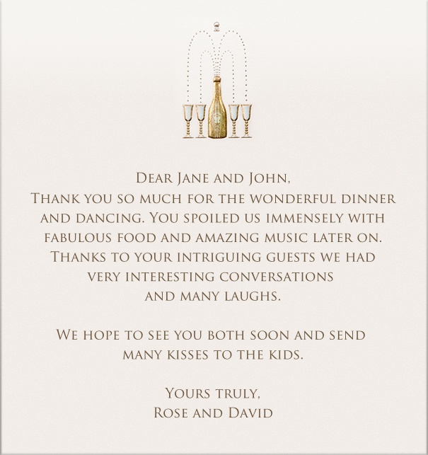 Online Card with champagne bottle and glasses motif by Bell'Invito.