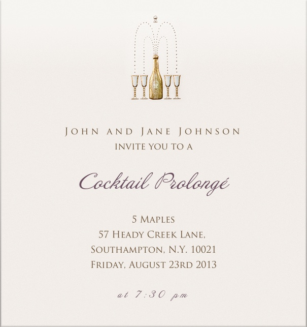 Online Cocktail Party Invitation for corporate or personal use with champagne bottle and glasses.