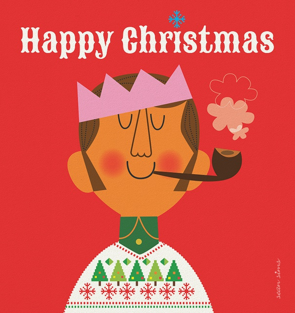 Online Christmas Card with Kind smoking a pipe and Happy Christmas text.