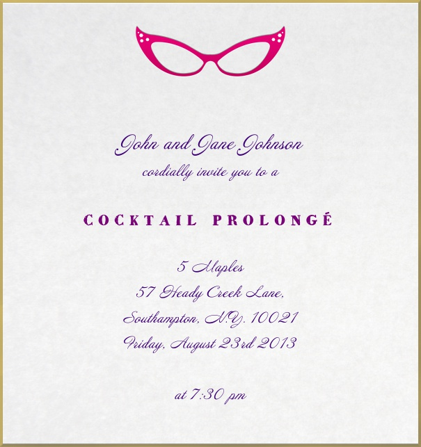 Evening Party Invitation with drawn glasses from the 60s.