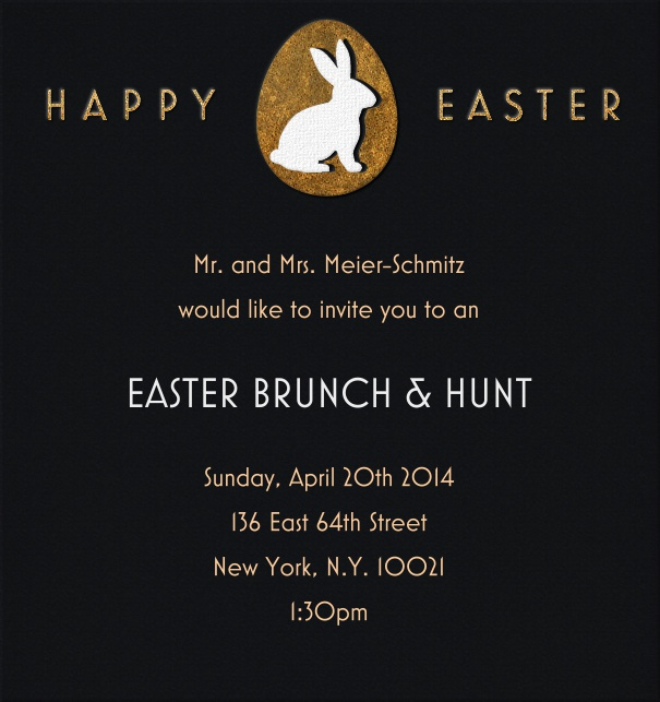 High Black Easter Invitation Card with Easter Bunny and Happy Easter Motif.