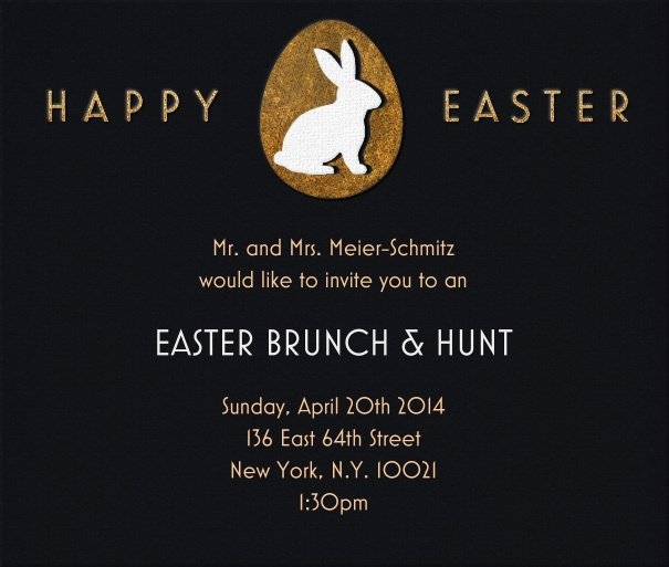 Black Easter Invitation Card with Easter Bunny and Happy Easter Motif.