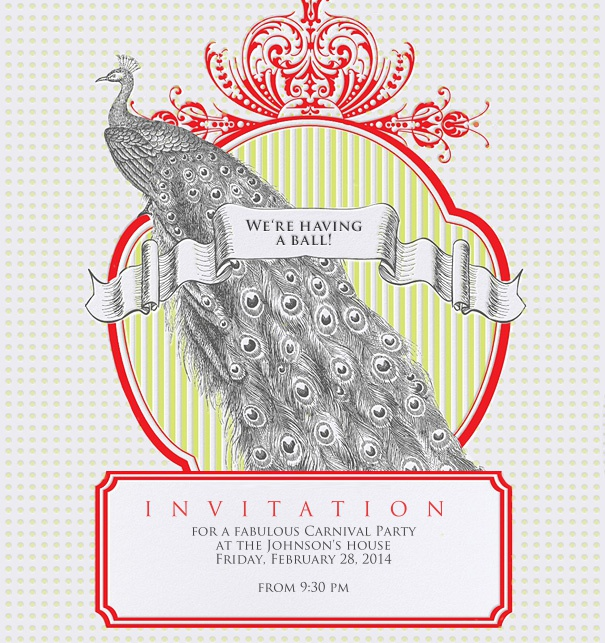 Formal Invitation designed with a peacock crown and red border.