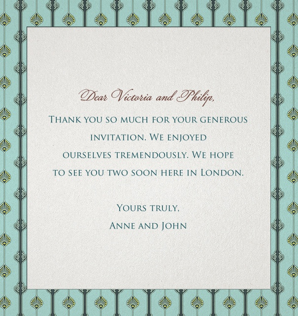 Green formal online card with a floral Art-Deco Border.