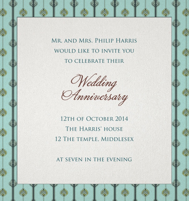 Green Online Wedding Invitation with art-deco border.