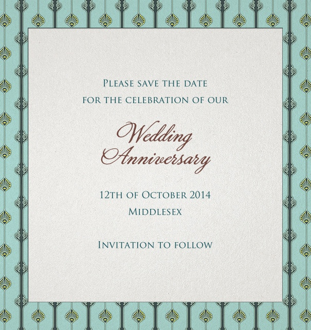 Green Online Wedding Save the Date with Art-Deco Border and formal motif.