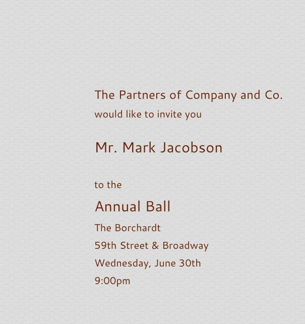 Light Grey Corporate Invitation for Firm and Company-Wide Events with Red Text.