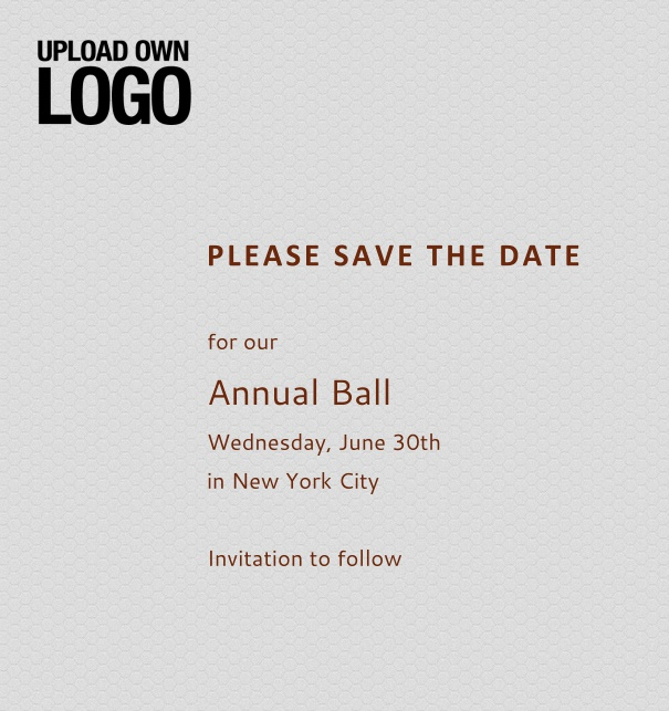 Rectangular grey online Save the Date template for corporate events and annual ball with red text, space to upload own logo on top left and event details box.