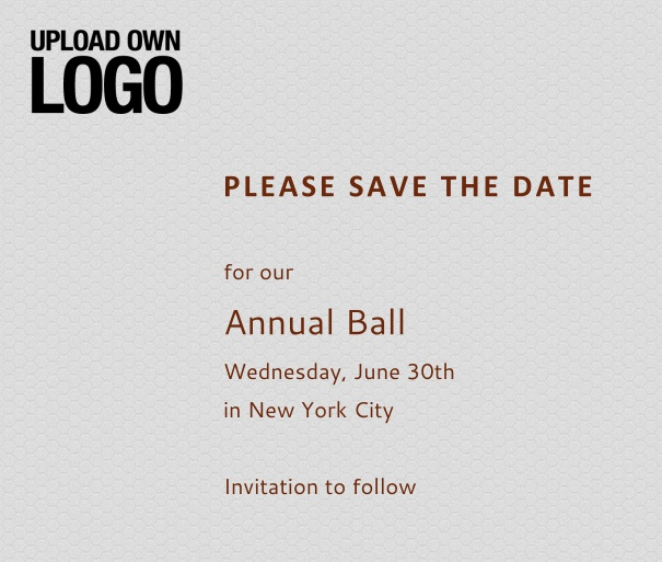 Squared grey online Save the Date template for corporate events and annual ball with red text, space to upload own logo on top left and event details box.