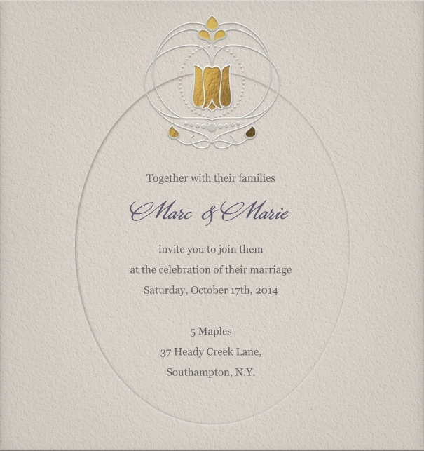 Art Nouveau Online Wedding Invitation with gold crown.