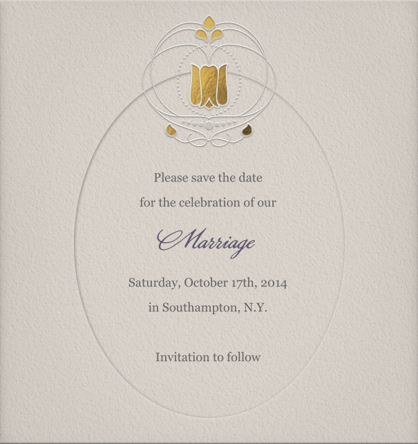 Modern Art Nouveau Wedding Save the Date Online with Gold Crown.