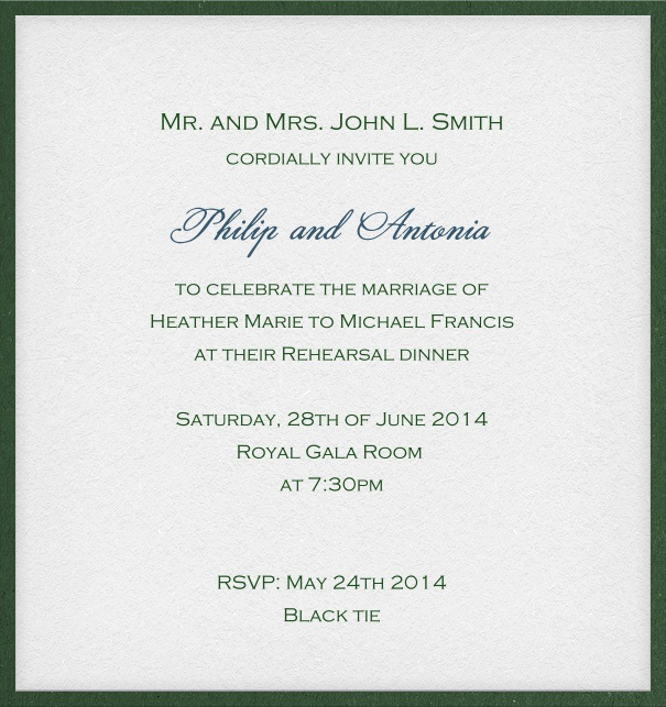 White, rectangular, elegant Invitation Card with green frame and space for recipient name.