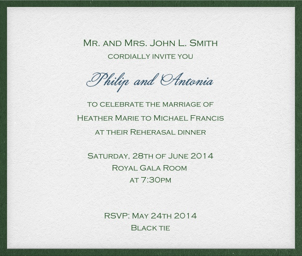 Classic, white, formal Invitation Card with green frame and space for recipients' names.