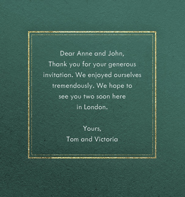 Green formal online card with thin golden frame around a text field.