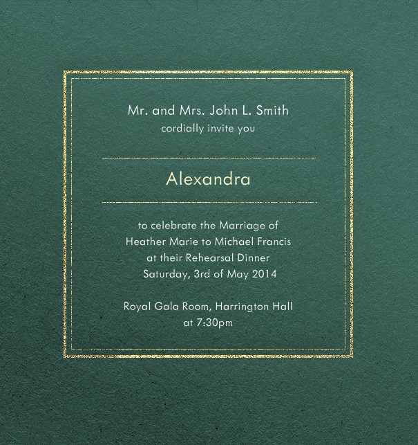 Green, formal party invitation card with recipient name and gold border.