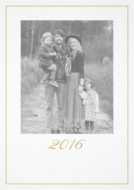 Photo card with red border, photo field and editable 2015 text. Beige.