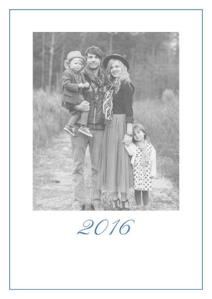 Photo card with red border, photo field and editable 2015 text. Blue.