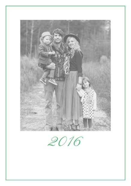 Photo card with red border, photo field and editable 2015 text. Green.