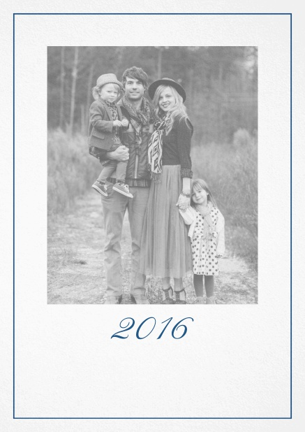 Photo card with red border, photo field and editable 2015 text. Navy.