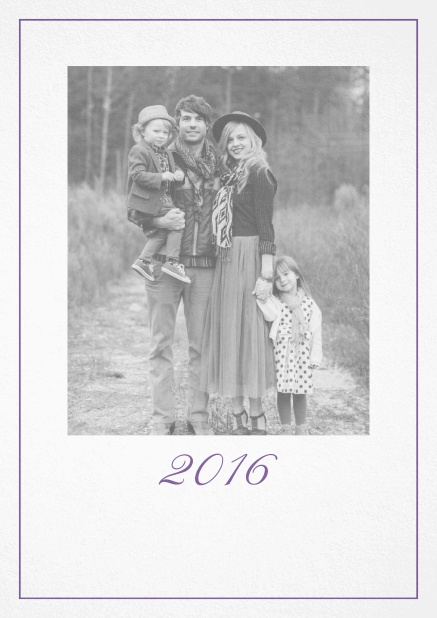 Photo card with red border, photo field and editable 2015 text. Purple.