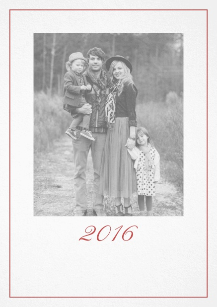 Photo card with red border, photo field and editable 2015 text. Red.