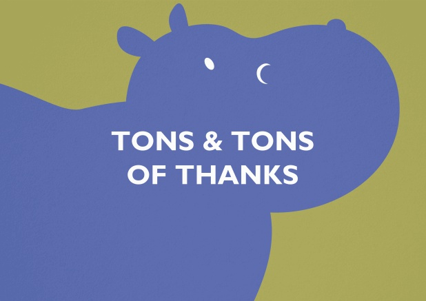 Yellow thank you card with blue hippo