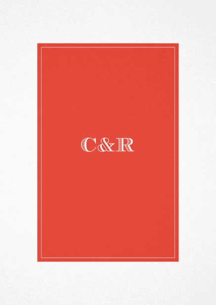 Classic Wedding invitation card with beautifully placed text field in various colors. Red.