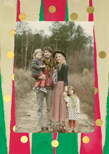 Christmas photo card with beige, red, green and golden frame.