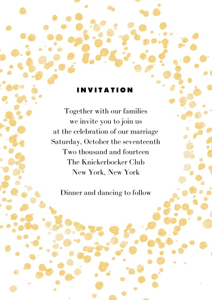 Online invitation card with gold sprinkles.