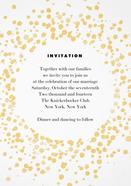 Cocktail invitation card with gold sprinkles.