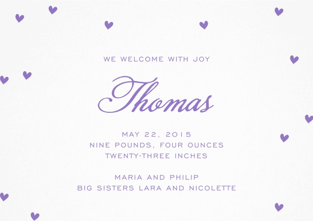 Birth announcement with purple hearts.