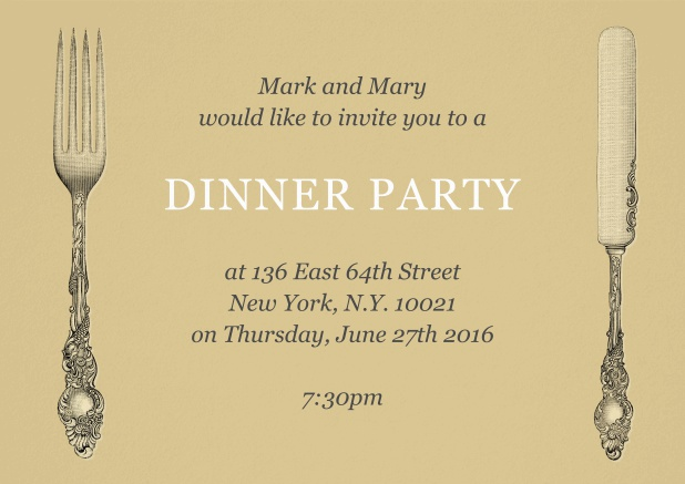 Dinner party invitation card with old fashion fork and knife.