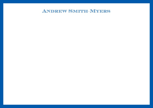 White online correspondence card with blue frame and name at top. Blue.