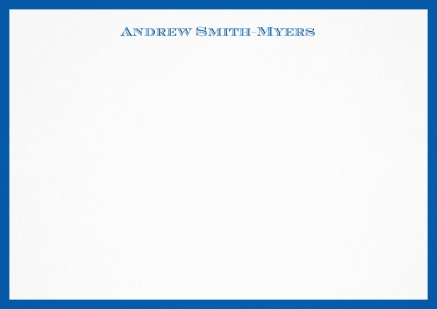 White correspondence card with blue frame and name at top. Blue.