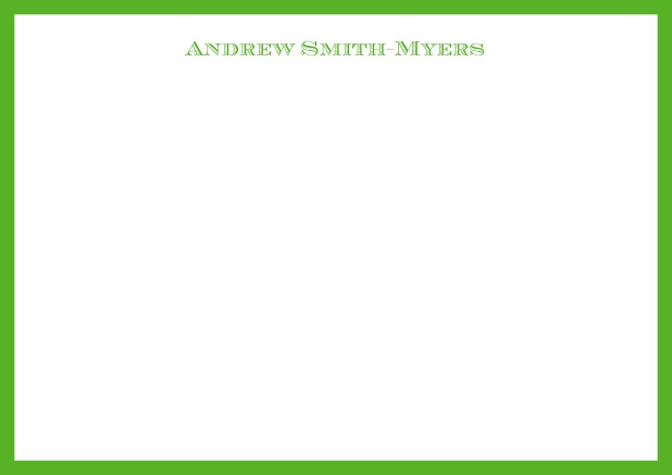 White online correspondence card with blue frame and name at top. Green.