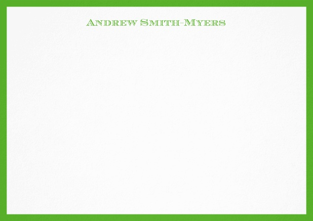 White correspondence card with blue frame and name at top. Green.