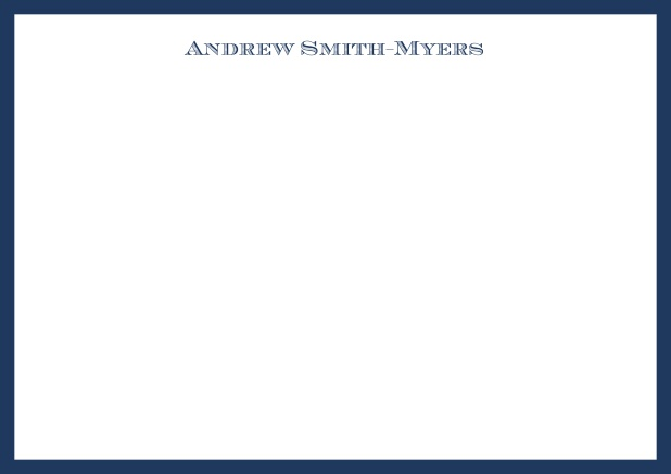 White online correspondence card with blue frame and name at top. Navy.