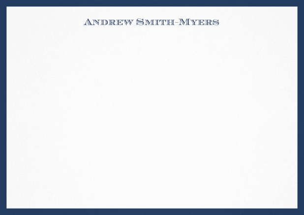 White correspondence card with blue frame and name at top. Navy.
