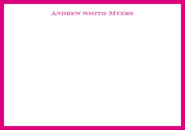 White online correspondence card with blue frame and name at top. Pink.