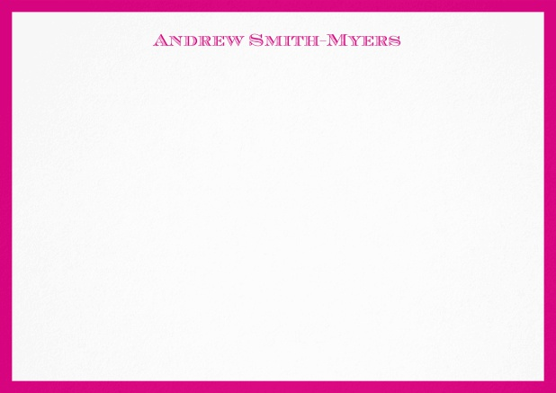 White correspondence card with blue frame and name at top. Pink.