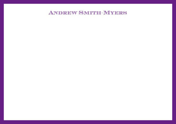 White online correspondence card with blue frame and name at top. Purple.
