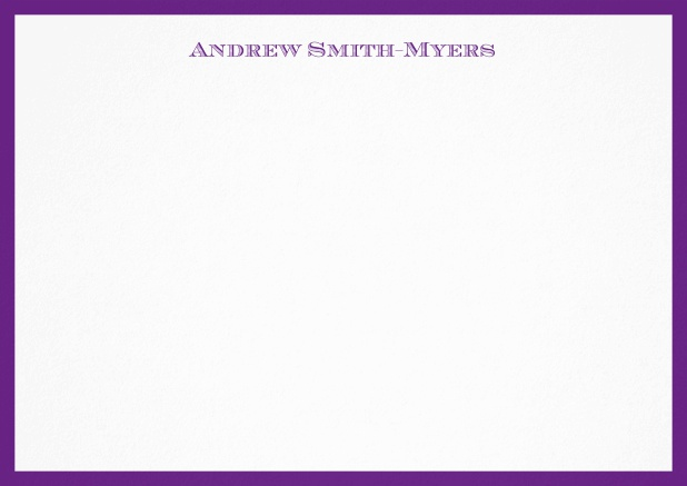 White correspondence card with blue frame and name at top. Purple.